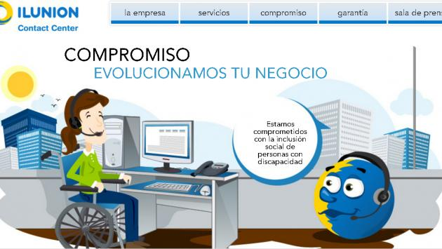 Imagen de la web de ILUNION Contact Center